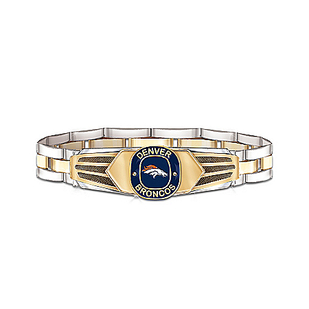 NFL Denver Broncos Stainless Steel Men's Bracelet by The Bradford Exchange Online - Lovely Exchange