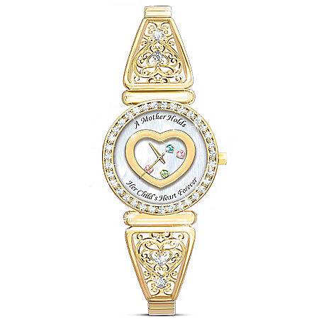 A Mother's Timeless Love Personalized Women's Watch With Six Birthstone Crystals