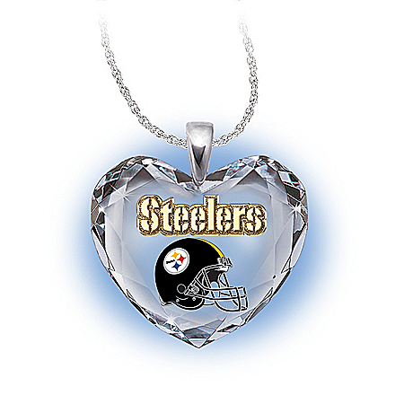 NFL Pittsburgh Steelers Crystal Heart Pendant: Go Steelers!
