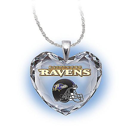NFL Baltimore Ravens Crystal Heart Pendant: Go Ravens!