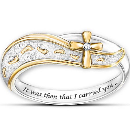 Ring: Footprints In The Sand Diamond Cross Ring