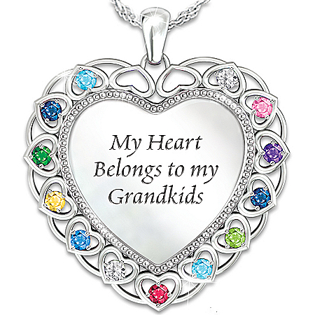 Necklace: My Heart Belongs To My Grandkids Personalized Birthstone Pendant Necklace