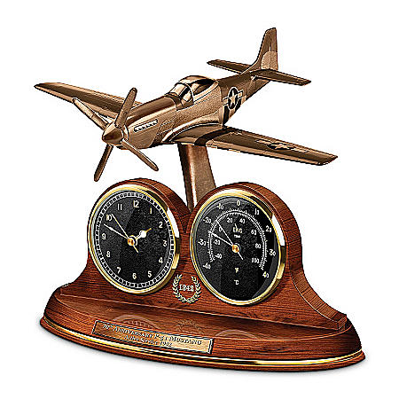 P-51 Mustang 70th Anniversary Commemorative Cold-Cast Bronze Thermometer Clock