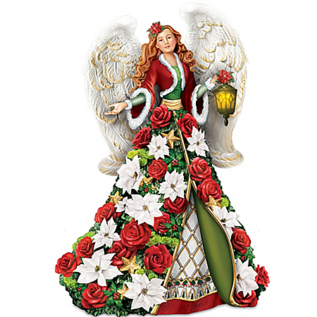 Thomas Kinkade Blessings Of The Christmas Season Musical Angel Figurine With Sculpted Poinsettias