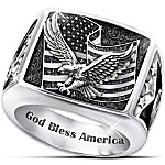 Ring - Wings Of Freedom Stainless Steel Patriotic Eagle Ring