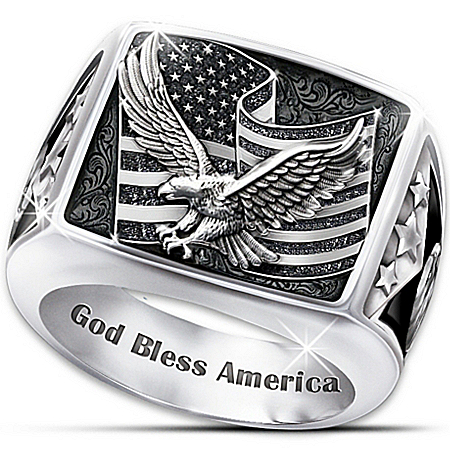 Ring: Wings Of Freedom Stainless Steel Patriotic Eagle Ring