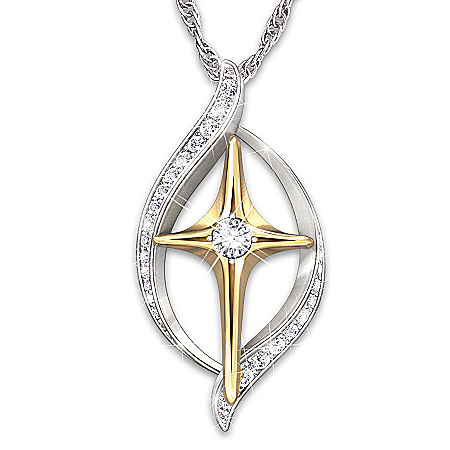 Diamond Cross Pendant Necklace for her