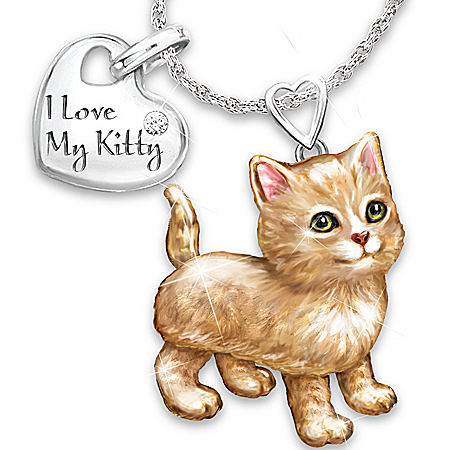Women's Necklace: Frisky Kitty Diamond Pendant Necklace