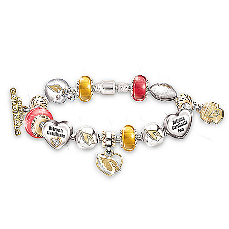 NFL Arizona Cardinals Charm Bracelet: Go Cardinals! #1 Fan by The Bradford Exchange Online - Lovely Exchange