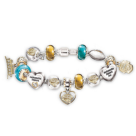 NFL Jacksonville Jaguars Charm Bracelet: Go Jaguars! #1 Fan by The Bradford Exchange Online - Lovely Exchange