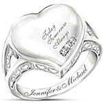 Personalized Diamond Ring - Our Love Is Written On My Heart