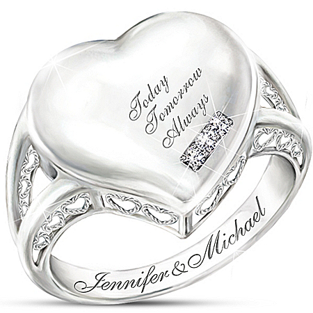 Personalized Diamond Ring: Our Love Is Written On My Heart