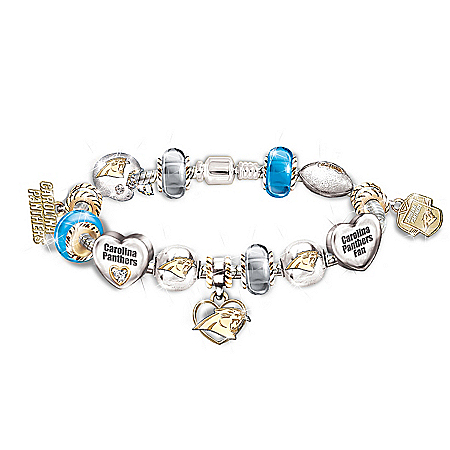 NFL Carolina Panthers Charm Bracelet: Go Panthers! #1 Fan