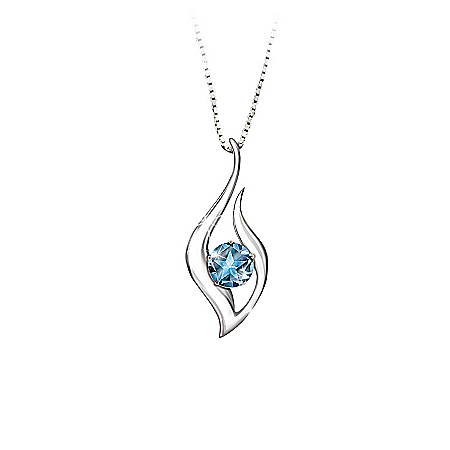Blue Topaz Pendant Necklace: Granddaughter Reach For The Stars by The Bradford Exchange Online - Lovely Exchange