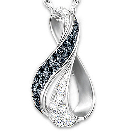 Midnight Serenade Black And White Diamond Sterling Silver Women's Infinity-Style Pendant Necklace