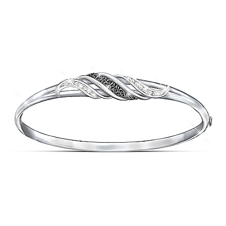 Midnight Serenade Black And White Diamond Women's Bracelet by The Bradford Exchange Online - Lovely Exchange