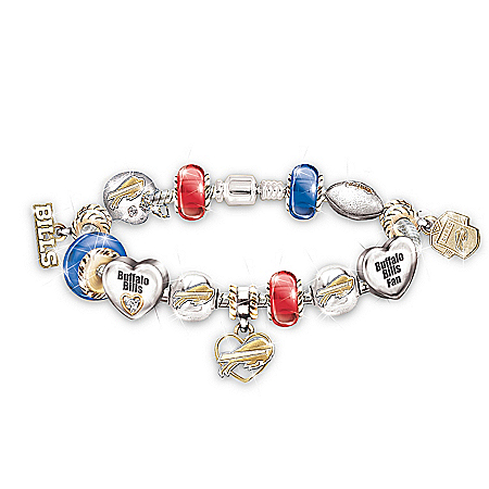 NFL Buffalo Bills Charm Bracelet: Go Bills! #1 Fan