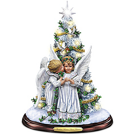 Sandra Kuck Mistletoe Kisses From Heaven Illuminated Tabletop Tree With Angels