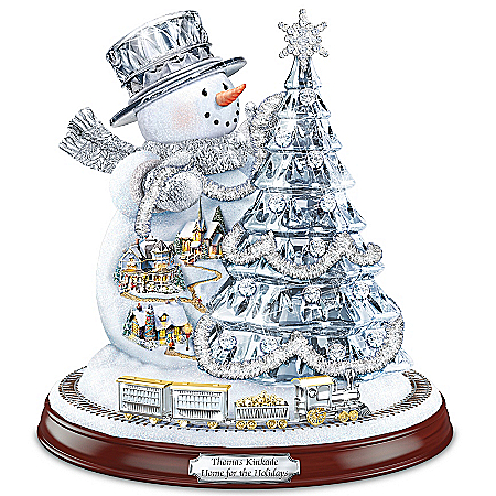Thomas Kinkade Home For The Holidays Snowman Tree Sculpture With Lights, Music And Motion