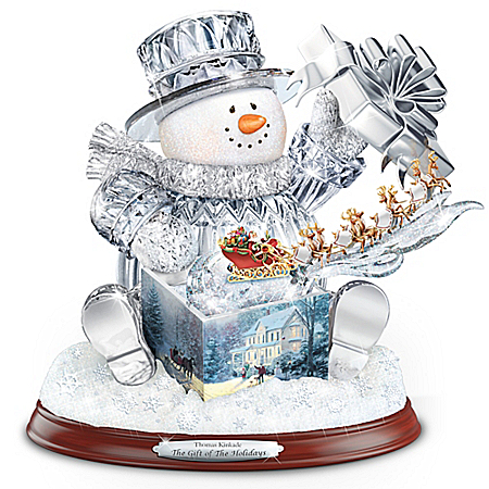 Thomas Kinkade The Gift Of The Holidays Crystal Snowman Sculpture With Lights And Music