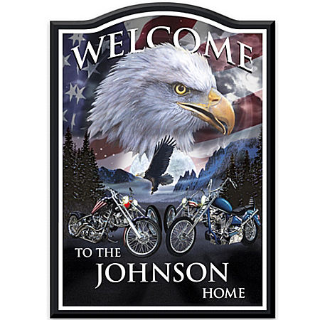 Welcome Sign: Ride Hard, Live Free Personalized Welcome Sign by The Bradford Exchange Online - Lovely Exchange