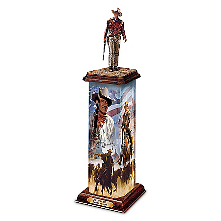 Sculpture: John Wayne: An American Hero Illuminated Statement Edition Sculpture by The Bradford Exchange Online - Lovely Exchange