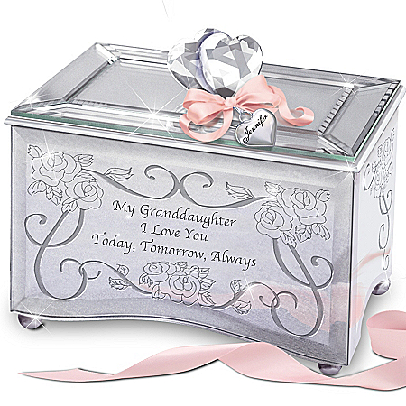 """Today, Tomorrow & Always"" Personalized Music Box for Granddaughters"