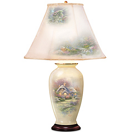 Thomas Kinkade Everett's Cottage Charm Porcelain Ginger Jar Table Lamp