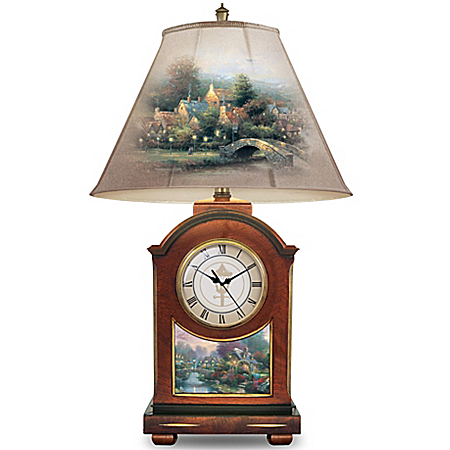 Clock Lamp: Thomas Kinkade Life's Golden Moments Clock Table Lamp