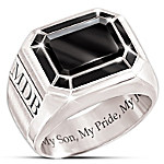 Ring - My Son, My Pride, My Joy Personalized Genuine Black Onyx Ring