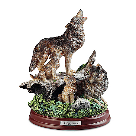 Wolf Decor Sculpture: Spring Serenade Wolf Pack Sculpture