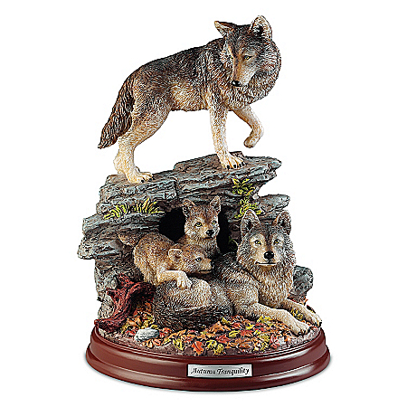 Wolf Decor Sculpture: Autumn Tranquility Wolf Pack Sculpture