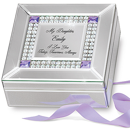 Personalized Birthstone Mirrored Music Box for Daughter