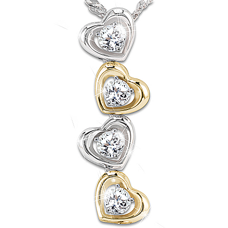 Necklace: My Children, My Joy Personalized White Topaz Pendant Necklace