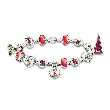 MLB St. Louis Charm Bracelet: Go Cardinals! #1 Fan by The Bradford Exchange Online - Lovely Exchange