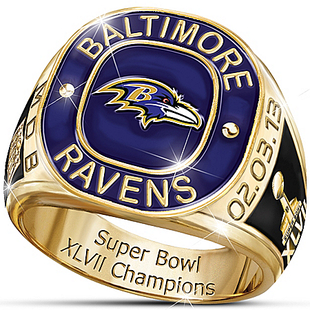 Personalized Men's Ring: Baltimore Ravens Super Bowl Champions