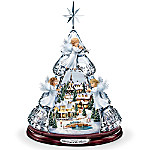Thomas Kinkade Blessings Of The Season Crystal Angel Tabletop Tree Plays Silent Night
