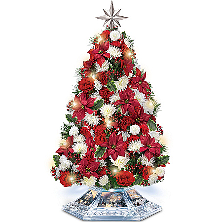 Tabletop Tree: Thomas Kinkade Home For The Holidays Tabletop Tree
