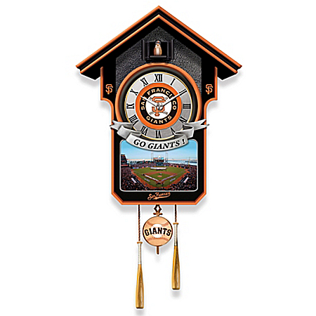 MLB-Licensed San Francisco Giants Cuckoo Clock Featuring Bird With Baseball Cap