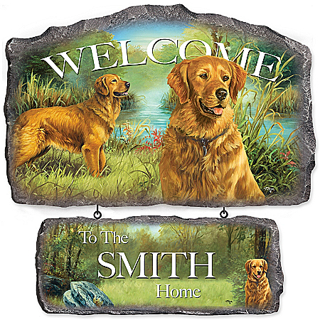 Wall Decor: Lovable Golden Retrievers Personalized Welcome Sign Wall Decor by The Bradford Exchange Online - Lovely Exchange