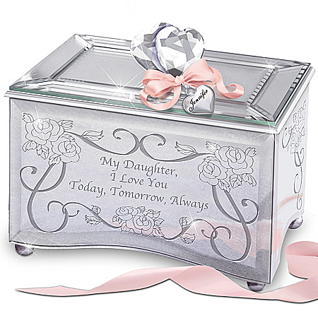 """Today, Tomorrow & Always"" Personalized Music Box for Daughters"