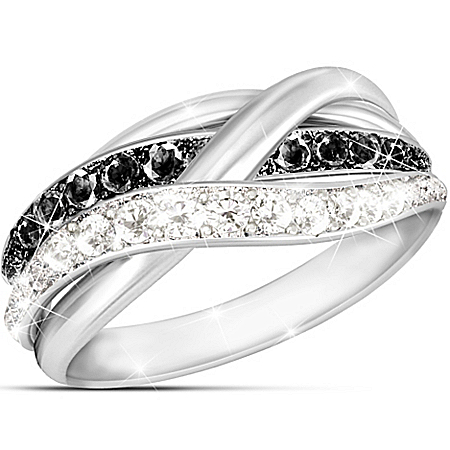 In Harmony Sterling Silver Women's Black And White Diamond Ring