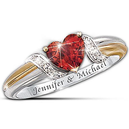 Women's Heart's Embrace Personalized Ring