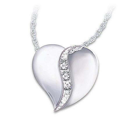 Diamond Pendant Necklace: I Love You Mom by The Bradford Exchange Online - Lovely Exchange