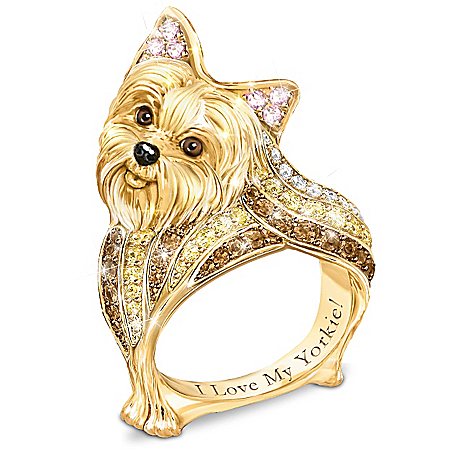 Best In Show Yorkie Sculpted Women's Ring With Crystals
