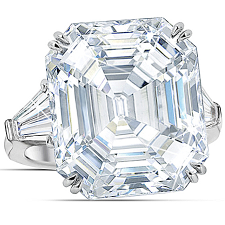 Over 15 Carat Diamonesk Simulated Diamond Sterling Silver Ring Hollywood Royalty