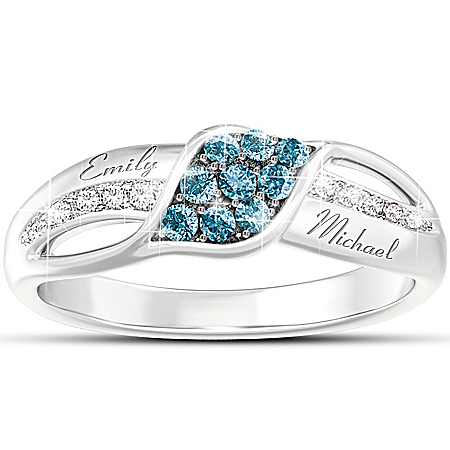 Women's Ring: Waves Of Love Personalized Diamond Ring by The Bradford Exchange Online - Lovely Exchange