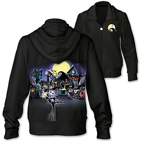 Tim Burton's The Nightmare Before Christmas Cotton Blend Artistic Women's Hoodie