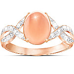 Handcrafted Sweet Sorbet Diamond And Peach Moonstone Ring