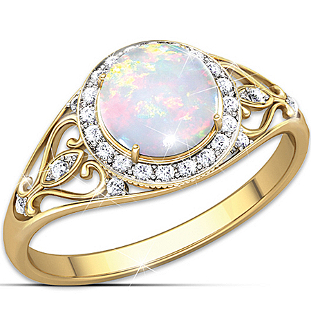 Ring: Opal Sunrise Ring by The Bradford Exchange Online - Lovely Exchange